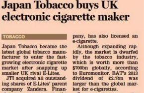 FT | Japan Tobacco compra un produttore britannico di sigaretteelettroniche