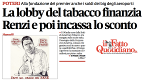 The Tobacco Lobby Contributes to Renzi, and Then Gets a Tax Discount | Il Fatto Quotidiano [UPDATE]
