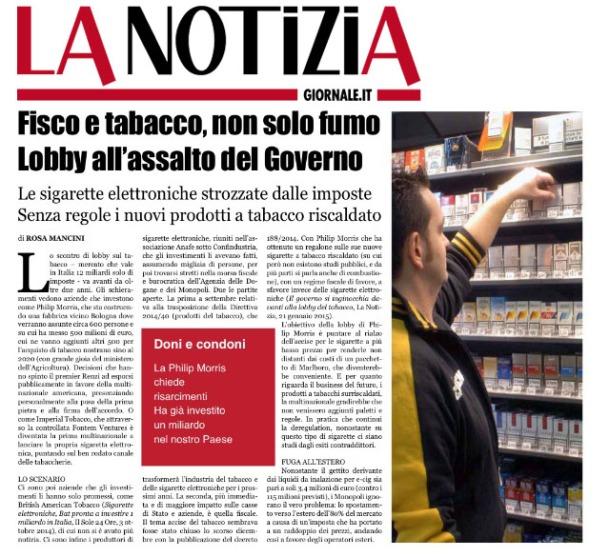 la notizia lobby tabacco