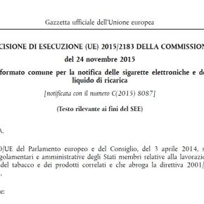 Sigarette elettroniche, ratificata la Decisione UE sul formato per la notifica, in attesa del Data Entry Gate