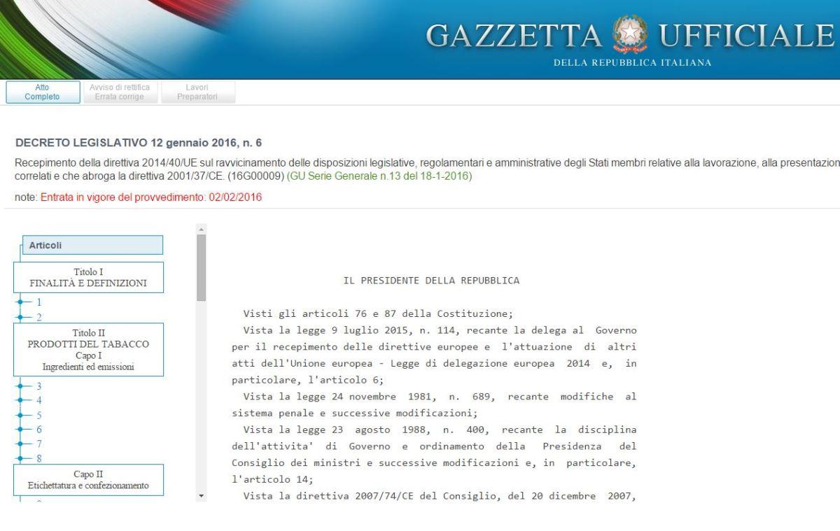 Direttiva tabacco, pubblicato il D.Lgs. in Gazzetta Ufficiale