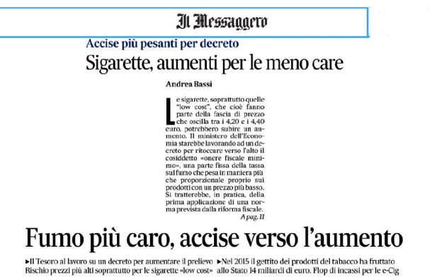 messaggero accise