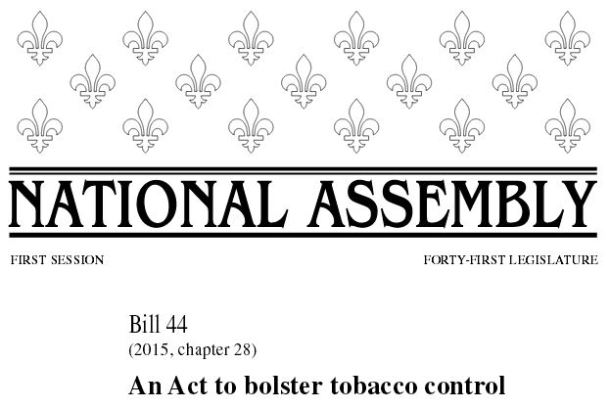 quebec act bolster tobacco