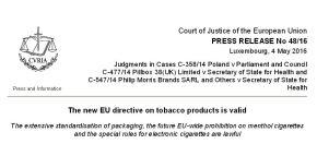 Corte di Giustizia UE, valide le norme TPD sulla sigarettaelettronica
